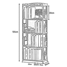Load image into Gallery viewer, Related qiangda floor bookshelf student bookcase childrens bedroom bamboo file shelves magazine rack simple style 2 tiers 3 tiers 4 tiers optional size 70 x 30 x 135cm