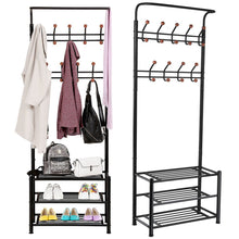 Load image into Gallery viewer, Discover the fyheart heavy duty coat shoe entryway rack with 3 tier shoe bench shelves organizer with coat hat umbrella rack 18 hooks for hallway entryway metal black