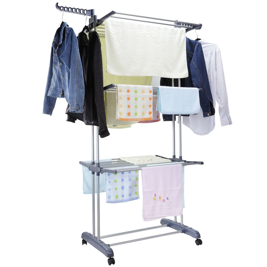 Best seller  voilamart clothes drying rack 3 tier with wheels foldable clothes garment dryer compact storage heavy duty stainless steel hanger laundry indoor outdoor airer