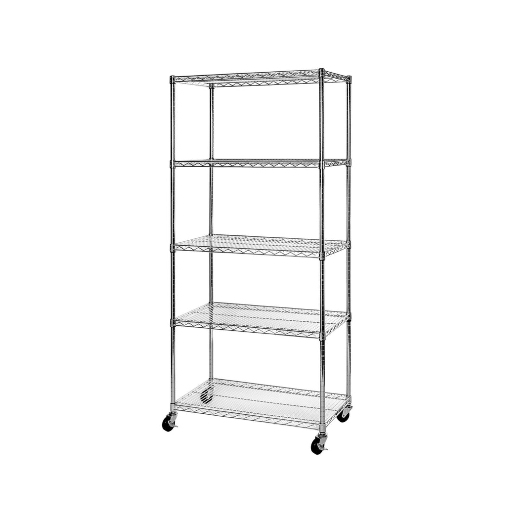 Shop seville classics ultradurable commercial grade 5 tier nsf certified steel wire shelving with wheels 36 w x 18 d x 72 h x x plated