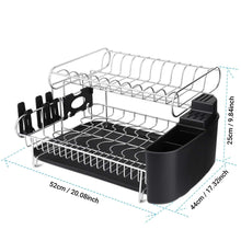 Load image into Gallery viewer, Best alvorog 2 tier dish drying rack large capacity dish holder rack microfiber mat included fully customizable kitchen organizer with removable drainboard cutlery cup holder