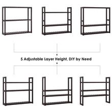 Load image into Gallery viewer, Top rated homfa bamboo shelf 3 tier utility storage organizer adjustable layer rack bathroom towel shelves multifunctional kitchen living room holder wall mounted retro color