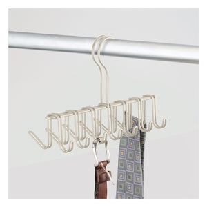 mDesign Over-The-Rod Closet Rack Hanger for Ties, Belts, Scarves � Pack of 2, Satin
