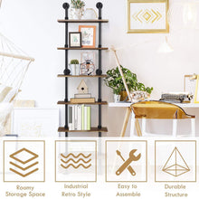 Load image into Gallery viewer, Shop here giantex 6 tier industrial pipe shelves with wood rustic wall shelves vintage pipe wall shelf for bedrooms kitchens coffee shops or bar storage pickles wood grain