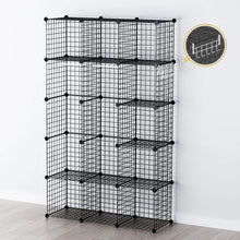 Load image into Gallery viewer, New george danis wire storage cubes metal shelving unit portable closet wardrobe organizer multi use rack modular cubbies black 14 inches depth 3x5 tiers