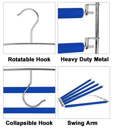 RosinKing Slack Hangers Swing Arm Pants 2 Pack Multi Layers Removeable Stainless Steel Scarf Slack Hangers Non-Slip Clothes Rack with Foam Padded Rotatable Hook Closet Space Saving Organizer