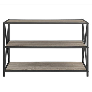 Related we furniture 40 x frame metal wood small media bookshelf short driftwood 3 tier display bookcase organizer 3 shelf entryway table