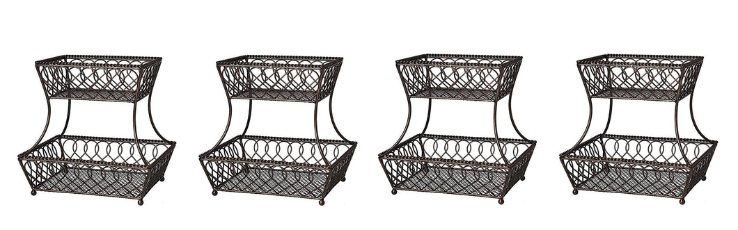 Latest gourmet basics by mikasa 5201553 loop and lattice 2 tier metal rectangular fruit storage basket 14 inch antique black pack of 4