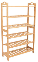 Load image into Gallery viewer, Exclusive birdrock home free standing bamboo shoe rack with handles 6 tier wood closets and entryway organizer fits 18 pairs of shoes