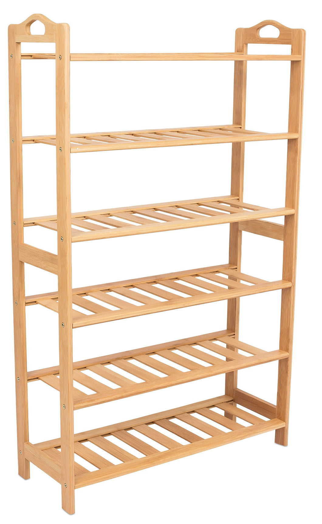 Exclusive birdrock home free standing bamboo shoe rack with handles 6 tier wood closets and entryway organizer fits 18 pairs of shoes