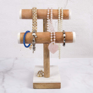 Exclusive creative home natural marble stone and mango wood 2 tier necklace bracelet display stand 8 7 8 l x 4 3 8 w x 11 3 4 h off off white patterns may very