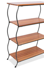 Load image into Gallery viewer, Amazon birdrock home industrial 4 tier shelving unit with rattan woven baskets delivered fully assembled wooden freestanding shelves with storage bins decorative living room shelf