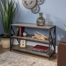 Load image into Gallery viewer, Results we furniture 40 x frame metal wood small media bookshelf short driftwood 3 tier display bookcase organizer 3 shelf entryway table