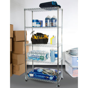 The best seville classics ultradurable commercial grade 5 tier nsf certified steel wire shelving with wheels 36 w x 18 d x 72 h x x plated
