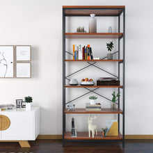 Load image into Gallery viewer, Shop here flyerstoy 5 tier bookcase vintage industrial standing bookshelf wood and metal bookshelves for home and office organizer us stock brown