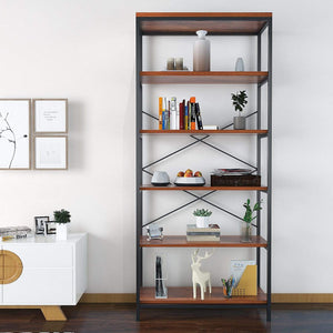 Shop here flyerstoy 5 tier bookcase vintage industrial standing bookshelf wood and metal bookshelves for home and office organizer us stock brown
