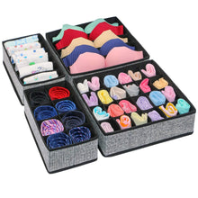 Load image into Gallery viewer, Buy now onlyeasy closet underwear organizer drawer divider set of 4 foldable cloth storage boxes bins under bed organizer for bras socks panties ties linen like black mxass4p