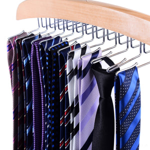 Ohuhu Wooden Tie Hanger Rotating Twirl 24 Ties Organizer Rack Hanger Holder Hook (2-Pack)