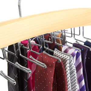 Juvale Natural Wood Multi Hook Tie Rack - 12 Hooks to Organize Ties Accessories - 16 Inch - Single Unit