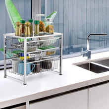 Load image into Gallery viewer, Related bextsware cabinet basket organizer with 3 tier wire grid sliding drawer multi function stackable mesh storage organizer for kitchen counter desktop bathroom under sinkchrome