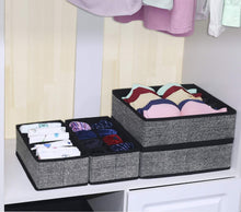 Load image into Gallery viewer, Discover onlyeasy closet underwear organizer drawer divider set of 4 foldable cloth storage boxes bins under bed organizer for bras socks panties ties linen like black mxass4p