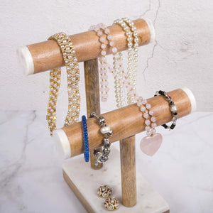 Discover the best creative home natural marble stone and mango wood 2 tier necklace bracelet display stand 8 7 8 l x 4 3 8 w x 11 3 4 h off off white patterns may very