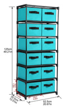 Load image into Gallery viewer, Organize with homebi storage chest shelf unit 12 drawer storage cabinet with 6 tier metal wire shelf and 12 removable non woven fabric bins in turquoise 20 67w x 12d x49 21h