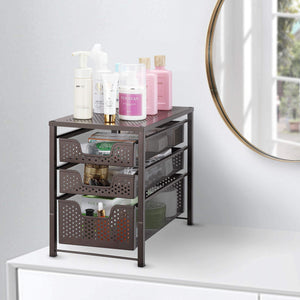 Discover the best simple trending 3 tier under sink cabinet organizer with sliding storage drawer desktop organizer for kitchen bathroom office stackbale bronze