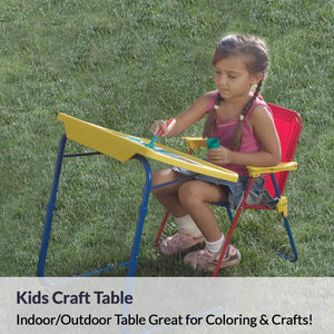 Best table mate 4 kids folding desk and chair set for eating art activities for toddlers and children with portable carry case red blue yellow