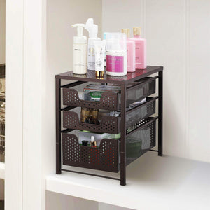Discover the simple trending 3 tier under sink cabinet organizer with sliding storage drawer desktop organizer for kitchen bathroom office stackbale bronze