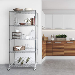 Storage organizer seville classics ultradurable commercial grade 5 tier nsf certified steel wire shelving with wheels 36 w x 18 d x 72 h x x plated