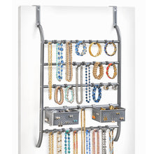 Load image into Gallery viewer, Lynk Over Door Or Wall Mount Jewelry Organizer Rack, Platinum