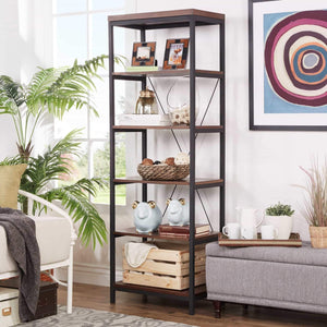 Get modhaus living industrial rustic style black metal frame 6 tier 26 inches horizontal bookshelf storage media tower dark brown finish living room decor includes pen 26 inches wide