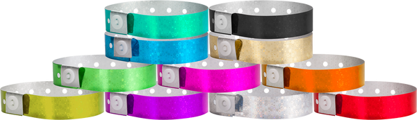 Plastic Holographic, L-Shape Wristbands in All Colors