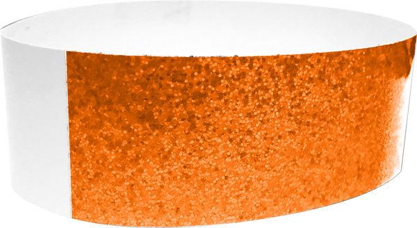 "An Adhesive 1"" X 10"" Sparkle Solid Neon Orange wristband"