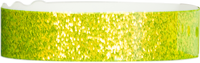 "A Plastic 3/4"" x 10"" Straight Wave Sparkle Snapped Neon Yellow wristband"