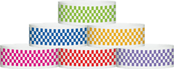 "Tyvek® 1"" x 10"" Checkerboard pattern wristbands"