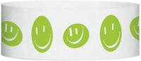 "A Tyvek® 1"" X 10"" Happy Face Neon Lime wristband"