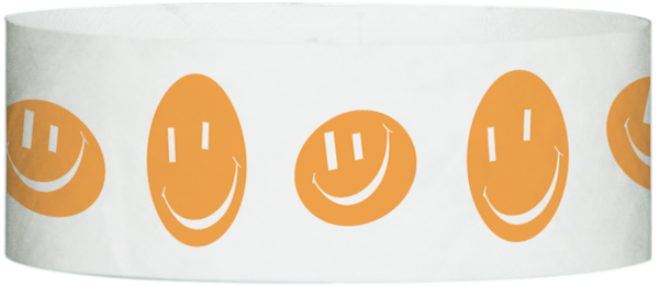 "A Tyvek® 1"" X 10"" Happy Face Neon Orange wristband"