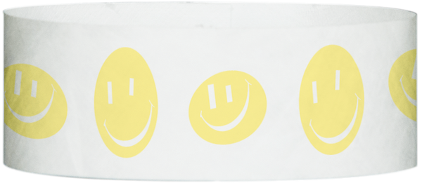 "A Tyvek® 1"" X 10"" Happy Face Yellow Glow wristband"