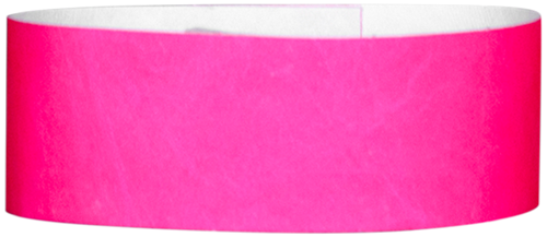 "A 1"" Tyvek® litter free solid Neon Pink wristband"