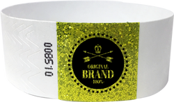 "Custom 1-Color 1"" Tyvek® Wristbands with 1"" Sparkle Strip"