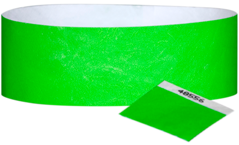 "A 1"" Tyvek® with stub solid Neon Lime wristband"