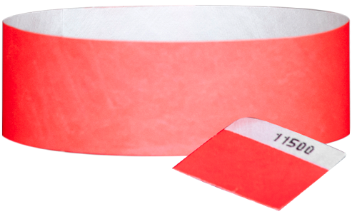 "A 1"" Tyvek® with stub solid Neon Sunfire wristband"
