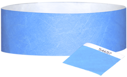 "A 1"" Tyvek® with stub solid Sky Blue wristband"