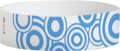 "Tyvek® 3/4"" x 10"" Sheeted Pattern Blue Disks pattern wristbands"