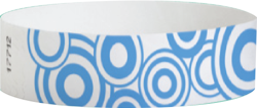 "A Tyvek®  3/4"" x 10"" Sheeted Pattern Blue Disks Light Blue wristband"