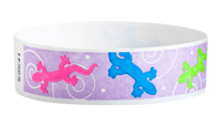 "A Tyvek®  3/4"" x 10"" Sheeted Pattern Geckos Multicolored wristband"