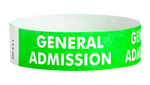 "A Tyvek®  3/4"" x 10"" Sheeted Pattern General Admission Green wristband"