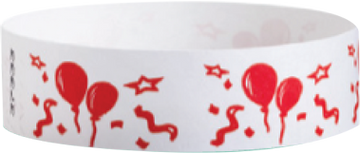 "Tyvek® 3/4"" x 10"" Sheeted Pattern Balloons pattern wristbands"